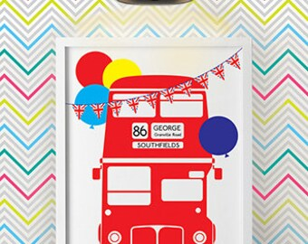 Personalised London Bus Prints