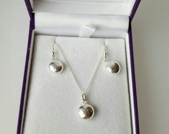 Recycled Sterling Silver Earrings and Necklace matching gift set