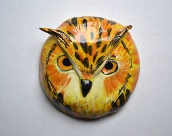 Ceramic Wall Art Horned Owl