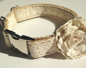 Beautiful Vintage Inspired Lace Dog Collar with Linen Movable Flowers, Metal Snap Lock Buckle for Exta Class, Adjustable,Made in Australia