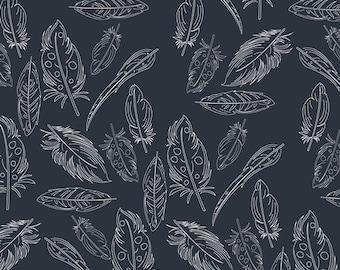 Navy Feather Fabric, Modern Cotton Fabric by the Yard, Panache Profundo, Petal and Plume, Art Gallery