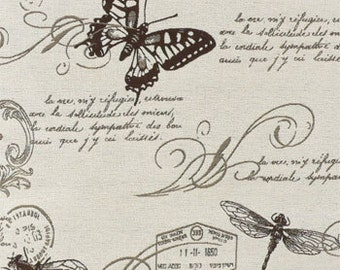 Upholstery Fabric By The Yard, Drapery Fabric, Script Fabric, Fabric By The Yard, Butterfly/Bugs/Insect/Keys/Novelty, Sewing Material