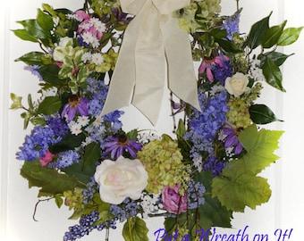 English Garden Grapevine and Flower Wreath