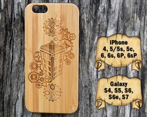 Tardis and Gears, iPhone 6/6s/6P/6sP 5/5s/5c 4/4s, Samsung S7 S6/S6e S5 S4, Laser Engraved Genuine Wood Case, Doctor Who