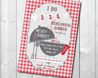 I Do BBQ Rehearsal Dinner Invitation - Red and White Gingham - Digital or Printed - I Do BBQ Invitation -  Wording can be changed