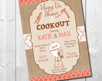 HONEY DO SHOWER Invitation Couples Fall printable/baby q, cookout, burlap, rustic, coral, cream, brown/Digital File/wording can be changed
