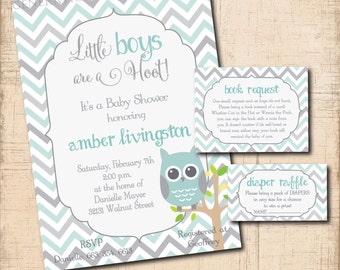 Owl Baby Shower with matching Book Request & Diaper Raffle Ticket Inserts / DIGITAL FILES / printable/ colors and wording can be changed