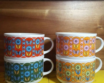 Set of 4  1960's Retro Floral and Butterfly Pattern Soup Mugs