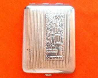 Vintage Soviet cigarette case / Holder from USSR / Moscow, Kremlin