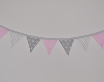 Garland Pennants Bunting flags: Pink, White, Grey