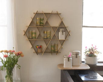 Gold Kitchen Wall Storage, Shelf Organizer, Spice Rack, Modern Kitchen Decor, Coffee Cup Holder, Kitchen Display, Pantry Storage
