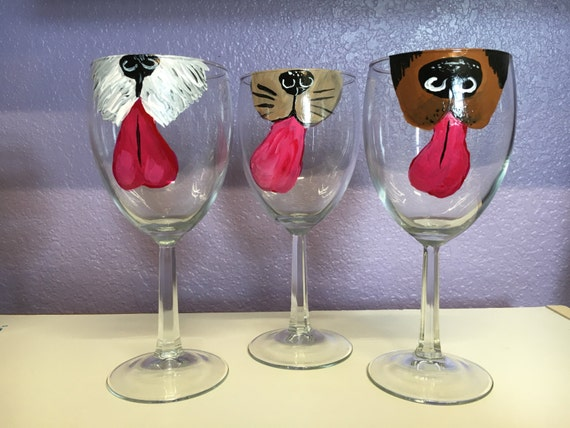 How To Paint A Black Dog On Wine Glasses