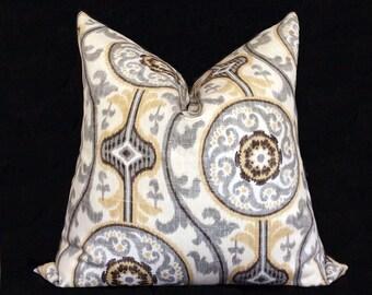Ikat Pillow Cover, Decorative Pillow, Grey Yellow pillow cover, Cushion, 18 x 18 pillow cover, 20 x 20 pillow cover