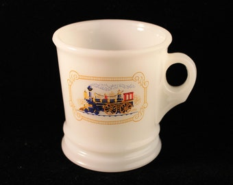 Vintage Avon Shaving mug, Cup, Train, Locomotive, White, Milk Glass