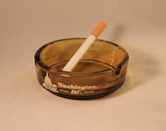 Vintage Washington D.C. Ashtray Small Round Amber Glass Travel Souvenir, White House, Jefferson Memorial