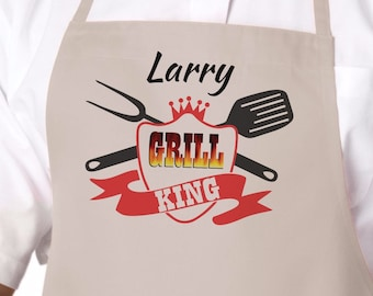 Personalized Grill King Camping Apron, Grilling Apron, Barbeque, BBQ Apron, Gift for Dad, Father's Day Gift, Camping Gift, Mens Gift APR-017
