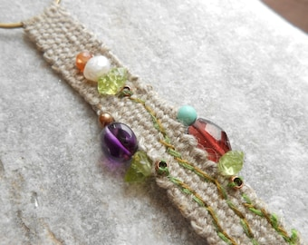 Necklace Linen hand woven & Gems Garnet Amethyst Turquoise Peridot Pearl - 'Spring Flowers' - mini tapestry - textile jewelry - fiber art