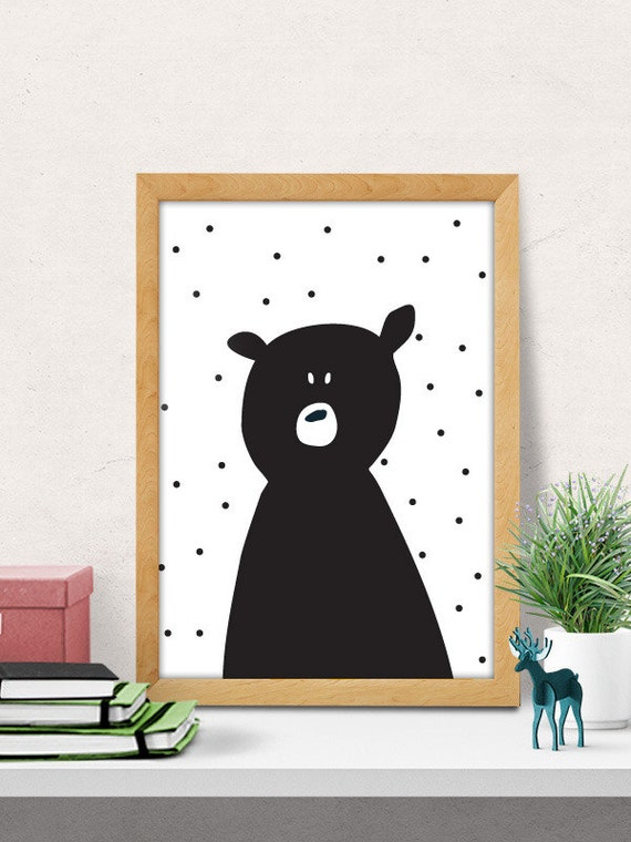 Bear print nursery wall art modern nursery decor by for Nursery wall art