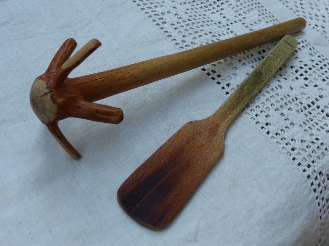 Antique Wood Hand Mixer Whisker Or Egg Beater Amp Wood Spatula
