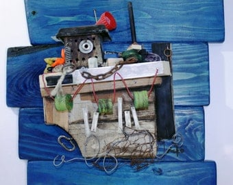 RECYCLED, Mediterranean wall decoration sculpture, colorful fishing boat with lots of details...