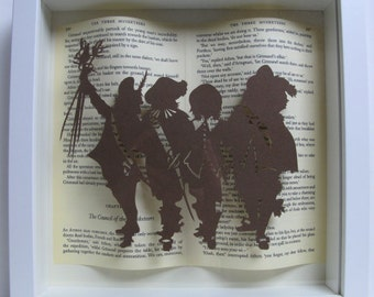 The Three Musketeers framed papercutting. Book lovers gift.