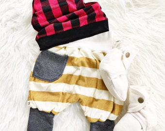 CLEARANCE  Baby Harem Pants - Mustard Stripe with Gray - READY to SHIP!