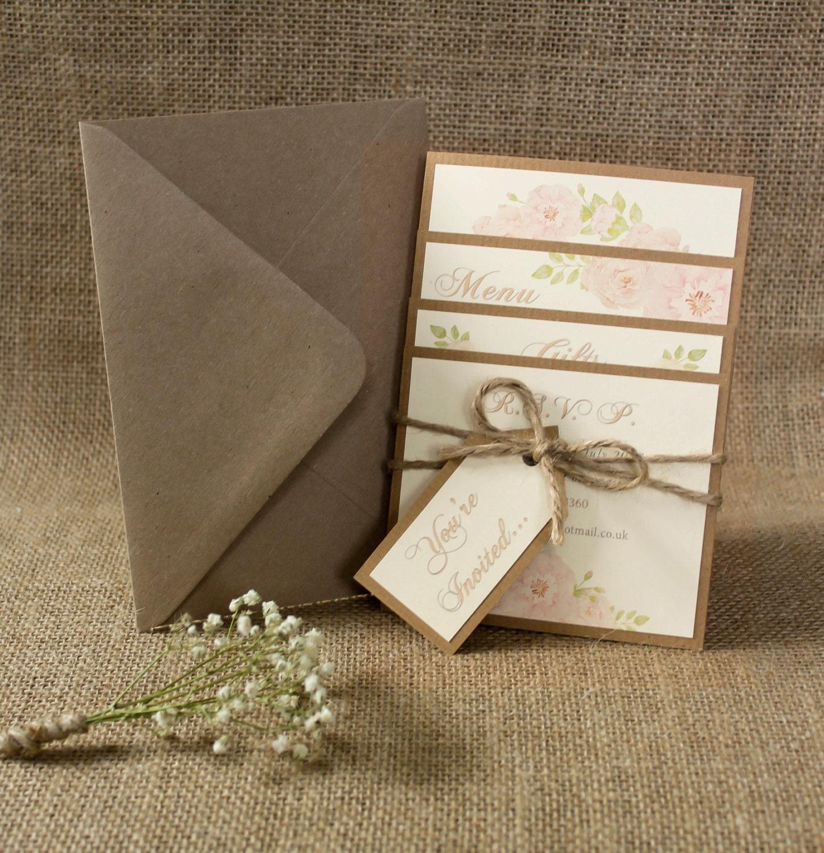 Rustic Rose Wedding Invitation Bundle Rustic Wedding Romantic