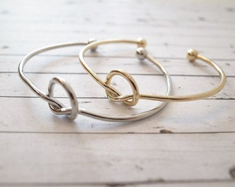 Silver Gold & Rose Love Knot Adjustable Bracelets - Tie the Knot Wedding Jewelry - Bridesmaid Proposal Gift - Will you be my Maid of Honor