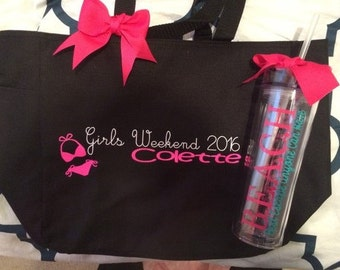 Girls Weekend Tote Bag and Tumbler Set