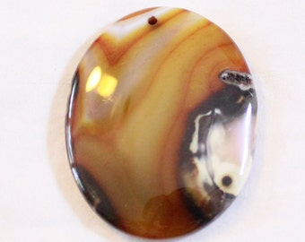 Banded Dream Agate Oval Focal Bead 49mm x 38mm x 6mm F60206