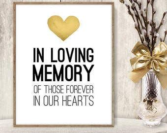 In Loving Memory Sign DIY / Wedding Memorial / Yellow Gold Heart, Watercolor Heart Sign / Printable PDF Wedding Sign ▷ Instant Download