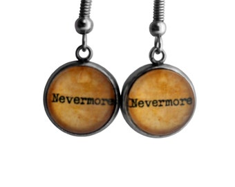 "Edgar Allen Poe ""Nevermore"" Earrings"