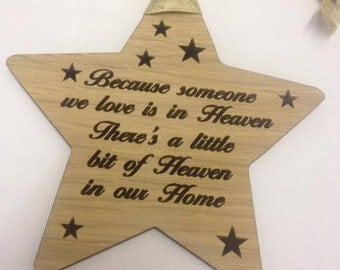 Rustic Style Wooden Star with poem 'Because someone we love is in Heaven '