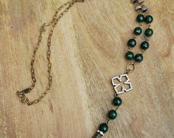 Forest green agate brown leather tassel necklace