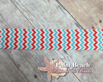 """1/3/5 yd cut of 7/8"""" Turquoise and Red Chevron Wave Zig Zag Ribbon Dr. Suess Colors"""