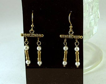 Pearl Greek Column Earrings - Renaissance - Elizabethan - Roman