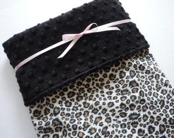 Baby Girl blanket...Minky Baby Blanket...baby blanket..baby girl bedding...leopard print baby blanket