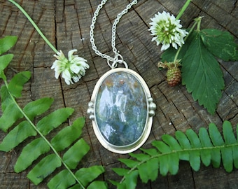 Mixed Metal Large Moss Agate Necklace- Handmade- Sterling Silver- Brass- One of a Kind- Metalsmith