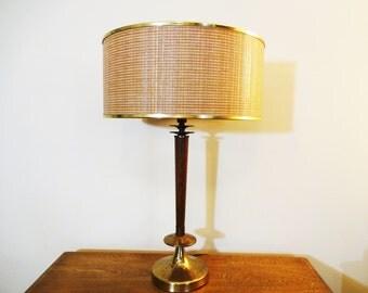 Atomic Mid Century Teak and Brass Table Lamp with Original Cane Drum Shade - Teak and Brass Table Lamp - Sculptural Danish Modern Teak Lamp