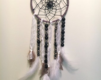 Black, Gray & White Beaded Dreamcatcher / Lace Dreamcatcher / Neutral Dreamcatcher / Black Dreamcatcher