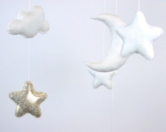 Baby Mobile, White Gold Baby Mobile, Baby Crib Mobile, Stars Baby Mobile, Nursery Decor, Gift Packaging
