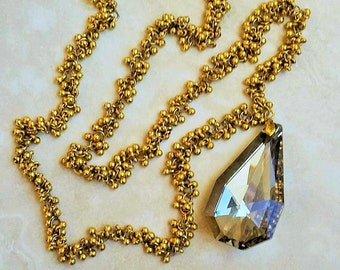 Large Teardrop Crystal Pendant Necklace 30 Inches