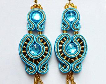 Turquoise gold soutache earrings