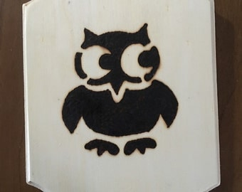Wood Burned Owl, wall art, wall hanging, kids room, owl decoration, owl picture, owl, pyrography, wood burned owl,