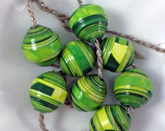 Paper Beads. Vibrant Greens and Yellow. Eco Friendly. OOAK