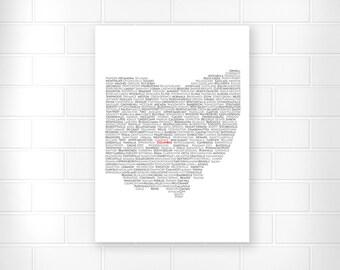 Ohio State Wall Art - Black and White - Columbus Ohio - Ohio Art