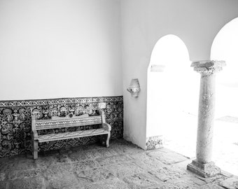 Black and White Photography, Spanish Tiles, Bench Photo, Black and White Print, Travel Photography, Archway, Arches, European Art Print