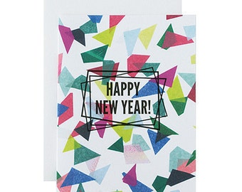 """Letterpress Holiday Box Set, """"Happy New Year"""", Modern, Color, Greeting Card"""