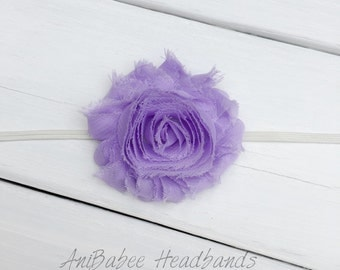 Lavender flower headband, shabby flower baby headband, flower headband, baby headband, infant headband, Newborn Headband
