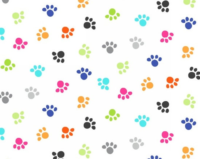Kitten Kaboodle by Blank Quilting - Cat Paws White - Cotton Woven Fabric